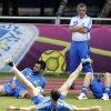 Greece\'s coach Fernando Santos watches his players during a training session at the Euro 2012 soccer championship in Legionowo about 25 kilometers (15 miles) north of Warsaw, Poland on Monday, June 18, 2012. (AP Photo/Thanassis Stavrakis)