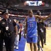 Oklahoma City\'s Kevin Durant (35) walks off the court after winning game 2 of the Western Conference Finals in the NBA basketball playoffs between the Dallas Mavericks and the Oklahoma City Thunder at American Airlines Center in Dallas, Thursday, May 19, 2011. Photo by Bryan Terry, The Oklahoman
