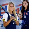 USA Softball team members Jessica Shults and Keilani Ricketts, from left, pose for a photo during media day at ASA Hall of Fame Stadium in Oklahoma City, Okla. Monday, June 25, 2012. Photo by Chris Landsberger, The Oklahoman Archives
