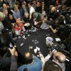 Photo - San Francisco 49ers cornerback Chris Culliver, seated at top, answers questions Thursday, Jan. 31, 2013, in New Orleans, regarding anti-gay remarks he made during Super Bowl media day Tuesday. Culliver apologized for the comments he made to a comedian, saying