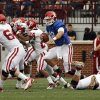 Quarterback Blake Bell keeps the ball during the University of Oklahoma (OU) football team\'s annual Red and White Game at Gaylord Family/Oklahoma Memorial Stadium on Saturday, April 14, 2012, in Norman, Okla. Photo by Steve Sisney, The Oklahoman