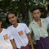 Wai Phyo, second left, stands for a photograph with some members of a 969 chapter at Kyimyindaing market in Yangon, Myanmar on April 4, 2013.