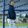 Detroit Tigers\' Miguel Cabrera waits his turn during batting practice before a baseball game with the Kansas City Royals at Kauffman Stadium in Kansas City, Mo., Wednesday, Oct. 3, 2012. (AP Photo/Orlin Wagner)