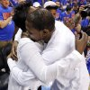 Oklahoma City\'s Kevin Durant (35) hugs his mother, Wanda Pratt, after Game 7 in the first round of the NBA playoffs between the Oklahoma City Thunder and the Memphis Grizzlies at Chesapeake Energy Arena in Oklahoma City, Saturday, May 3, 2014. The Thunder won 120-109. Photo by Nate Billings, The Oklahoman