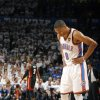 Oklahoma City\'s Russell Westbrook (0) reacts during Game 2 of the NBA Finals between the Oklahoma City Thunder and the Miami Heat at Chesapeake Energy Arena in Oklahoma City, Thursday, June 14, 2012. Photo by Sarah Phipps, The Oklahoman