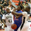 Millwood\'s Jamal Green-Gaskins gets caught between Hugo\'s C.J. Scott, left, and Jordan Stafford during a Class 3A boys state basketball tournament game between Hugo and Millwood at Yukon High School in Yukon, Okla., Thursday, March 7, 2013. Photo by Bryan Terry, The Oklahoman