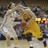 Central Michigan\'s Taylor Johnson, right, drives to the basket against Oklahoma\'s Nicole Kornet during the first half of a first-round game in the women\'s NCAA college basketball tournament Saturday, March 23, 2013, in Columbus, Ohio. (AP Photo/Jay LaPrete) ORG XMIT: OHJL105