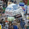 Protesters rally against fracking at the Capitol in Albany, N.Y., on Monday, June 17, 2013. The demonstrators Monday are urging Gov. Andrew Cuomo to permanently ban hydraulic fracturing for natural gas in New York, saying it will harm the environment. (AP Photo/Tim Roske)
