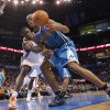Oklahoma City Thunder power forward Serge Ibaka (9) defends on New Orleans Hornets point guard Jarrett Jack (2) during the NBA basketball game between the Oklahoma City Thunder and the New Orleans Hornets at the Chesapeake Energy Arena on Wednesday, Jan. 25, 2012, in Oklahoma City, Okla. Photo by Chris Landsberger, The Oklahoman