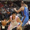 Houston Rockets\' Jeremy Lin, left, drives around the baseline against Oklahoma City Thunder defender Cole Aldrich during the first quarter of an NBA preseason basketball game in Hidalgo, Texas, Wednesday, Oct. 10, 2012. (AP Photo/Delcia Lopez) ORG XMIT: TXDL108