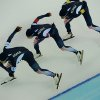 Photo - Speedskaters from Korea, left to right, Joo Hyong-Jun, Kim Cheol-min, and Lee Seung-hoon  compete in the men's speedskating team pursuit semifinals at the Adler Arena Skating Center at the 2014 Winter Olympics, Friday, Feb. 21, 2014, in Sochi, Russia. (AP Photo/Antonin Thuillier, Pool)