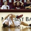 Whitney Hand falls to the floor in pain before leaving the game as the University of Oklahoma Sooners (OU) play the North Texas Mean Green in NCAA, women\'s college basketball at The Lloyd Noble Center on Thursday, Dec. 6, 2012 in Norman, Okla. Photo by Steve Sisney, The Oklahoman