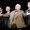 Photo - FILE - From left, actors James Corden, Clive Merrison, Richard Griffiths and Stephen Campbell Moore take the curtain call at the opening night of the play The History Boys, in this Sunday, April 23, 2006 file photo in New York. Griffiths, the British actor who played the boy wizard's unsympathetic Uncle Vernon in the