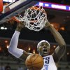 Photo -   Charlotte Bobcats' Brendan Haywood dunks against the Toronto Raptors during the first half of an NBA basketball game in Charlotte, N.C., Wednesday, Nov. 21, 2012. (AP Photo/Chuck Burton)