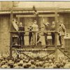 Photo - This 1928 photo provided by the Franklin County Historic Preservation Society in Benton, Ill., shows bootlegging gangster Charlie Birger, center, on the gallows just before his public hanging in Benton. Birger was the last person to be publicly hanged in Illinois. Administrators of the Franklin County Jail Museum in Benton got a call recently from a family that found the gallows in a barn in Grand Tower, Ill. The wood and rebar pieces of the apparatus have been moved to the museum, which has had to make do for years with a replica of the gallows. (AP Photo/Courtesy of the Franklin County Historic Preservation Society)
