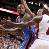 Oklahoma City\'s Kevin Durant (35) looks to pass around Miami\'s Shane Battier, center, and Miami\'s LeBron James (6) during Game 4 of the NBA Finals between the Oklahoma City Thunder and the Miami Heat at American Airlines Arena, Tuesday, June 19, 2012. Photo by Bryan Terry, The Oklahoman