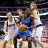 Oklahoma City\'s Serge Ibaka (9) tries to get past Jason Kidd (2) of Dallas and Dirk Nowitzki (41) during game 5 of the Western Conference Finals in the NBA basketball playoffs between the Dallas Mavericks and the Oklahoma City Thunder at American Airlines Center in Dallas, Wednesday, May 25, 2011. Photo by Bryan Terry, The Oklahoman