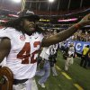 Alabama running back Eddie Lacy (42) gestures as he walks off the field after their 32-28 win in the Southeastern Conference championship NCAA college football game against Georgia, Saturday, Dec. 1, 2012, in Atlanta. (AP Photo/David Goldman)