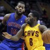 Cleveland Cavaliers\' Jeremy Pargo (8) drives past Detroit Pistons\' Greg Monroe (10) during the second quarter of an NBA basketball game Saturday, Dec. 8, 2012, in Cleveland. (AP Photo/Tony Dejak)