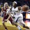 Photo - FILE - In this Feb. 21, 2014 file photo, Baylor guard Odyssey Sims (0) drives past Oklahoma guard Nicole Kornet (1) during the first half of an NCAA college basketball game in Waco, Texas. Sims was selected to The Associated Press women's basketball All-America team, released Tuesday, April 1, 2014. (AP Photo/LM Otero, File)