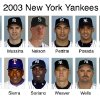 MAJOR LEAGUE BASEBALL: The 2003 New York Yankees are shown in these 2003 file photos. From left are, Hideki Matsui, Mike Mussina, Jeff Nelson, Andy Pettitte, Jorge Posada, Juan Rivera, Mariano Rivera, Ruben Sierra, Alfonso Soriano, Jeff Weaver, David Wells, Gabe White. (AP Photo/File)