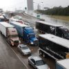 Traffic is stopped in eastbound lanes of I-44 near the Belle Isle bridge. Torrential rain caused flooding in Oklahoma City, Monday, June 14, 2010. by Jim Beckel, The Oklahoman