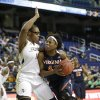 Photo - Virginia's Sarah Imovbioh (42) drives against Georgia Tech's Nariah Taylor (11) during the second half of an NCAA college basketball game at the Atlantic Coast Conference tournament in Greensboro, N.C., Thursday, March 6, 2014. Georgia Tech won 77-76. (AP Photo/Chuck Burton)