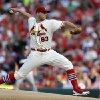 Photo - St. Louis Cardinals starting pitcher Justin Masterson throws during the first inning of a baseball game against the Milwaukee Brewers Saturday, Aug. 2, 2014, in St. Louis. (AP Photo/Jeff Roberson)