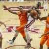 Oklahoma State\'s Le\'Bryan Nash (2) and Oklahoma\'s Andrew Fitzgerald (4) fight for a rebound during the Bedlam men\'s college basketball game between the University of Oklahoma Sooners and the Oklahoma State Cowboys in Norman, Okla., Wednesday, Feb. 22, 2012. Oklahoma won 77-64. Photo by Bryan Terry, The Oklahoman