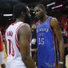 NBA BASKETBALL: Oklahoma City\'s Kevin Durant (35) talks with Houston\'s James Harden (13) after Game 6 in the first round of the NBA playoffs between the Oklahoma City Thunder and the Houston Rockets at the Toyota Center in Houston, Texas, Friday, May 3, 2013. Oklahoma City won 103-94. Photo by Bryan Terry, The Oklahoman