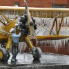 Ice covers a sculpture called the Yellow Peril near downtown after freezing rain covered everything with a thick layer of ice on Saturday, Dec. 21, 2013 in Norman, Okla. Photo by Steve Sisney, The Oklahoman
