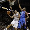 San Antonio\'s Tony Parker (9) goes past Oklahoma City\'s Kevin Durant (35) during Game 2 of the Western Conference Finals between the Oklahoma City Thunder and the San Antonio Spurs in the NBA playoffs at the AT&T Center in San Antonio, Texas, Tuesday, May 29, 2012. Oklahoma City lost 120-111. Photo by Bryan Terry, The Oklahoman
