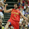 Spain\'s Sergio Llull reacts during the men\'s gold medal basketball game against USA at the 2012 Summer Olympics, Sunday, Aug. 12, 2012, in London. (AP Photo/Charles Krupa)