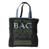 This undated publicity photo provided by Nomi Network shows a Dark Blue Slogan Zip Tote that has the slogan,