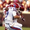 Oklahoma Sooners\'s Jordan Evans hits Cody Sokol and is ejected from the game during a college football game between the University of Oklahoma Sooners (OU) and the Louisiana Tech Bulldogs at Gaylord Family-Oklahoma Memorial Stadium in Norman, Okla., on Saturday, Aug. 30, 2014. Photo by Steve Sisney, The Oklahoman
