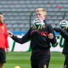 Photo - Belgium's national soccer team players Kevin De Bruyne, center, and Anthony Vanden Borre, right, practice during their last training in Belgium before leaving for Brazil at the King Baudouin stadium in Brussels, Sunday June 8, 2014. Belgium will play against South Korea, Russia and Algeria in Group H of the World Cup 2014 in Brazil. (AP Photo/Geert Vanden Wijngaert)