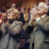 Former Oklahoma Governor and UCO President George Nigh and wife Donna applaud as President Obama approaches to take his oath of office, during an Inauguration watch party for UCO officials and students at the Nigh University Center Constitution Hall on the campus of the University of Central Oklahoma in Edmond, OK, Tuesday, Jan. 20, 2009. BY PAUL HELLSTERN, THE OKLAHOMAN