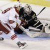 Phoenix Coyotes right wing Mikkel Boedker (89), of Denmark, watches as Dallas Stars goalie Kari Lehtonen (32), of Finland, gloves his shootout goal-attempt during an NHL hockey game on Friday, Feb. 1, 2013, in Dallas. The Stars won 4-3. (AP Photo/Tony Gutierrez)