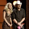 "FILE - In this Nov. 9, 2011 file photo hosts Carrie Underwood, left, and Brad Paisley speak during the 45th Annual CMA Awards in Nashville, Tenn. The former ""American Idol"" winner\'s latest album ""Blown Away"" was a multi-week No. 1 on the country albums chart, she\'s in the midst of an arena tour and she also is up for female vocalist of the year at the CMA Awards, on Thursday, Nov. 1, 2012, airing live on ABC at 8 p.m. EDT from Nashville\'s Bridgestone Arena. (AP Photo/Mark Humphrey, File)"