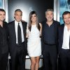 "From left, screenwriter Jonas Cuaron, actor George Clooney, actress Sandra Bullock, director Alfonso Cuaron and producer David Heyman pose together at the premiere of ""Gravity"" at the AMC Lincoln Square Theaters on Tuesday, Oct. 1, 2013, in New York. (Photo by Evan Agostini/Invision/AP) ORG XMIT: NYEA135"