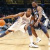 The Thunder\'s Kevin Durant (35) tries to drive the ball on Memphis\' Tony Allen (9) during the NBA basketball game between the Oklahoma City Thunder and the Memphis Grizzlies at the Oklahoma City Arena on Tuesday, Feb. 8, 2011, Oklahoma City, Okla. Photo by Chris Landsberger, The Oklahoman