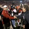 OU coach Bob Stoops and Texas Tech coach Mike Leach shake hands after the college football game between the University of Oklahoma Sooners and Texas Tech University at Gaylord Family -- Oklahoma Memorial Stadium in Norman, Okla., Saturday, Nov. 22, 2008. BY BRYAN TERRY, THE OKLAHOMAN