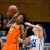 Oklahoma State\'s Toni Young (15) and Duke\'s Haley Peters (33) fight for a loose ball during the first half in the women\'s NCAA Tournament at Cameron Indoor Stadium in Durham, North Carolina, Tuesday, March 26, 2013. (Greg Mintel/Raleigh News & Observer/MCT)