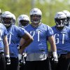 Photo -   Offensive tackle Riley Reiff (71), the Lions' unsigned first-round draft pick, participates in rookie minicamp NFL football practice in Allen Park, Mich., Friday, May 11, 2012. (AP Photo/Paul Sancya)