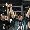 Philadelphia Eagles fans celebrate after wide receiver Riley Cooper (14) scored a touchdown against the Dallas Cowboys during the second half of an NFL football game, Sunday, Dec. 2, 2012, in Arlington, Texas. (AP Photo/Tony Gutierrez)