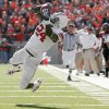 OU\'s Dejuan Miller can\'t hold on to the ball during the college football game between the University of Oklahoma Sooners (OU) and Texas Tech University Red Raiders (TTU ) at Jones AT&T Stadium in Lubbock, Texas, Saturday, Nov. 21, 2009. Photo by Bryan Terry, The Oklahoman