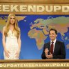 This image released by NBC shows Kristen Wiig, portraying singer Lana Del Rey, left and Seth Meyers during a skit from