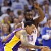 Oklahoma City\'s James Harden defends on Los Angeles\' Matt Barnes during Game 2 in the second round of the NBA playoffs between the Oklahoma City Thunder and the L.A. Lakers at Chesapeake Energy Arena on Wednesday, May 16, 2012, in Oklahoma City, Oklahoma. Photo by Chris Landsberger, The Oklahoman