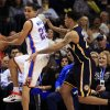 Oklahoma City\'s Kevin Martin (23) tries to save an out of bounds ball as Indiana\'s Gerald Green (25) defends during the NBA game between the Indiana Pacers and the Oklahoma City Thunder at the Chesapeake Energy Arena Sunday,Dec. 9, 2012. Photo by Sarah Phipps, The Oklahoman