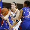 Oklahoma State\'s Liz Donohoe (4) passes the ball around Kansas\' Angel Goodrich (3) during a women\'s college basketball game between Oklahoma State University (OSU) and Kansas at Gallagher-Iba Arena in Stillwater, Okla., Tuesday, Jan. 8, 2013. Photo by Bryan Terry, The Oklahoman
